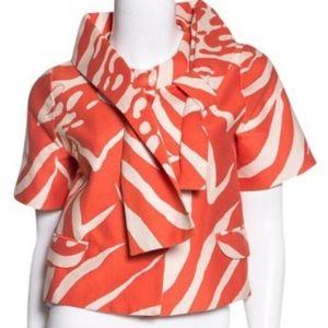 Kate Spade Mona Short Box Orange Blazer Jacket L